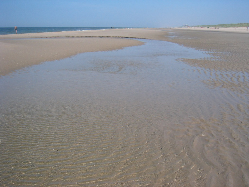 Soms blijft er bij laagwater wat water staan achter de zandplaat (een zwin), dit wordt door de zon verwarmd tot een heerlijk warm bad.